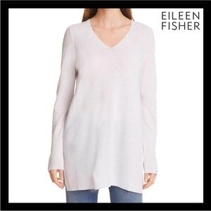 NEW EILEEN FISHER WOOL V-NECK TUNIC SWEATER